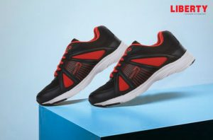 red sports lacing shoes